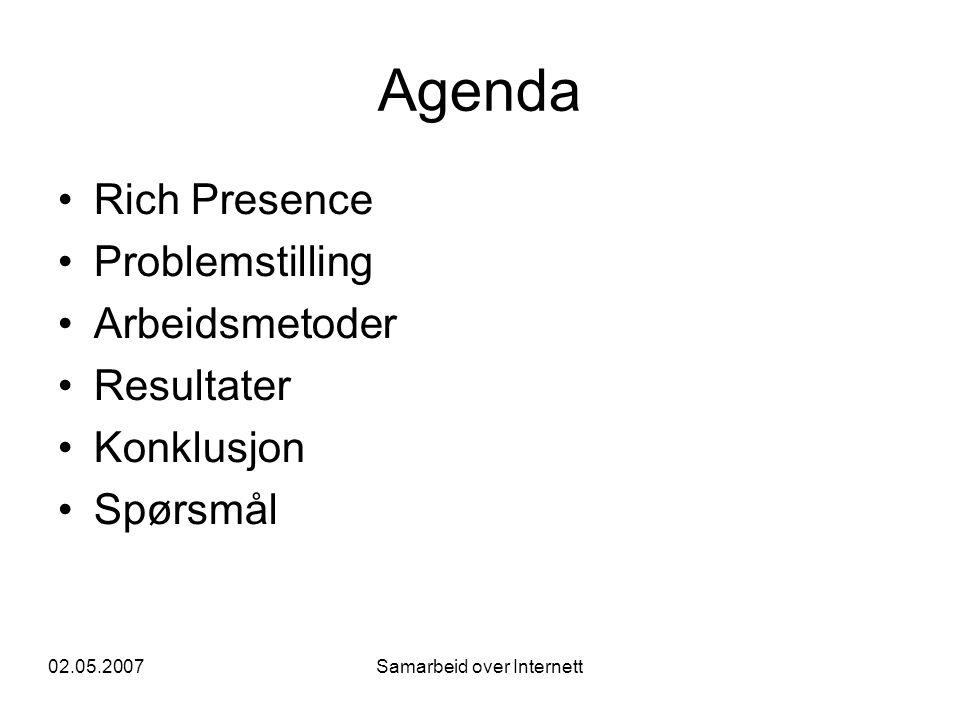 02.05.2007Samarbeid over Internett Agenda •Rich Presence •Problemstilling •Arbeidsmetoder •Resultater •Konklusjon •Spørsmål