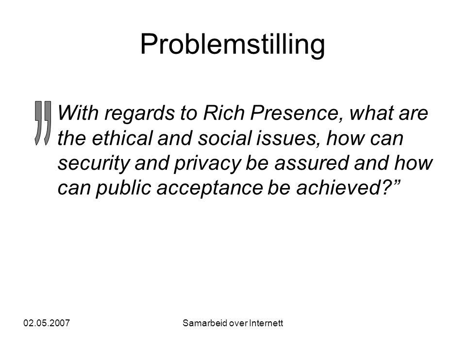 02.05.2007Samarbeid over Internett Problemstilling •Anta at teknologien er tilgjengelig.