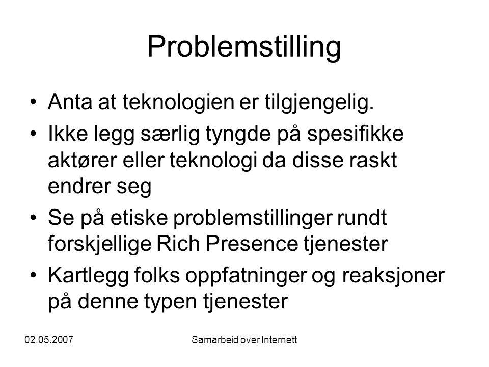 02.05.2007Samarbeid over Internett Problemstilling •Anta at teknologien er tilgjengelig. •Ikke legg særlig tyngde på spesifikke aktører eller teknolog