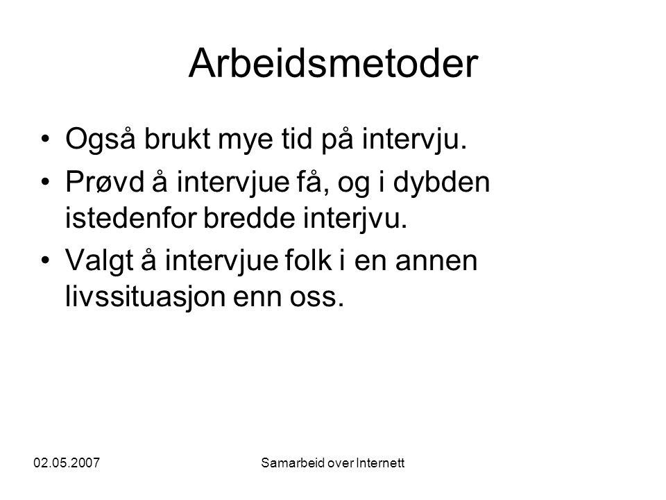 02.05.2007Samarbeid over Internett Arbeidsmetoder •Også brukt mye tid på intervju.