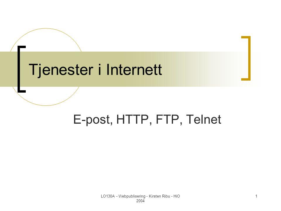 LO130A - Webpublisering - Kirsten Ribu - HiO 2004 32 HTTP - Hyper Text Transfer Protocol  HTTP protokollen består av to deler:  Forespørsler fra nettlesere til webtjenere  Respons (svar) som går andre veien Webtjener Nettleser