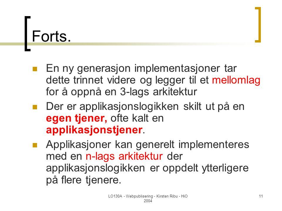 LO130A - Webpublisering - Kirsten Ribu - HiO 2004 11 Forts.  En ny generasjon implementasjoner tar dette trinnet videre og legger til et mellomlag fo