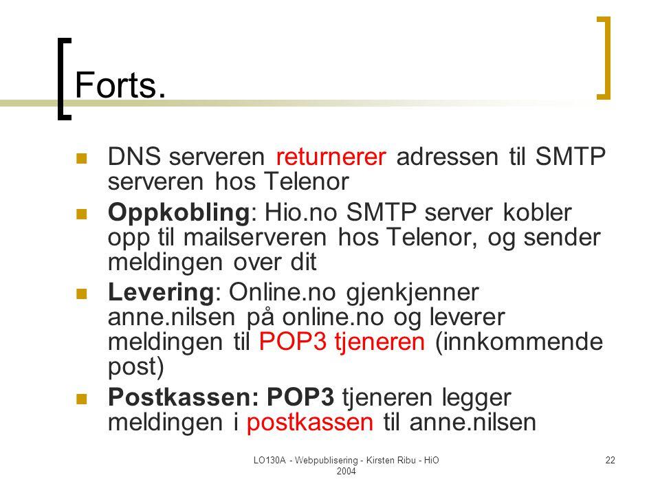 LO130A - Webpublisering - Kirsten Ribu - HiO 2004 22 Forts.  DNS serveren returnerer adressen til SMTP serveren hos Telenor  Oppkobling: Hio.no SMTP