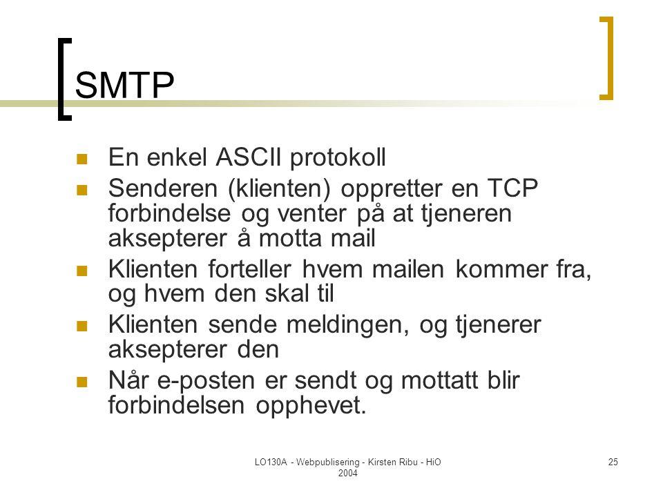 LO130A - Webpublisering - Kirsten Ribu - HiO 2004 25 SMTP  En enkel ASCII protokoll  Senderen (klienten) oppretter en TCP forbindelse og venter på a