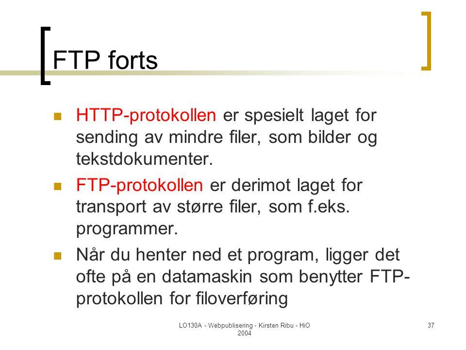 LO130A - Webpublisering - Kirsten Ribu - HiO 2004 37 FTP forts  HTTP-protokollen er spesielt laget for sending av mindre filer, som bilder og tekstdokumenter.