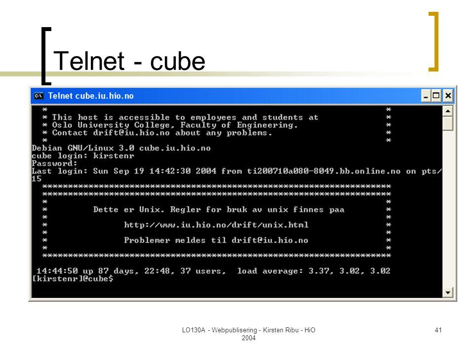 LO130A - Webpublisering - Kirsten Ribu - HiO 2004 41 Telnet - cube