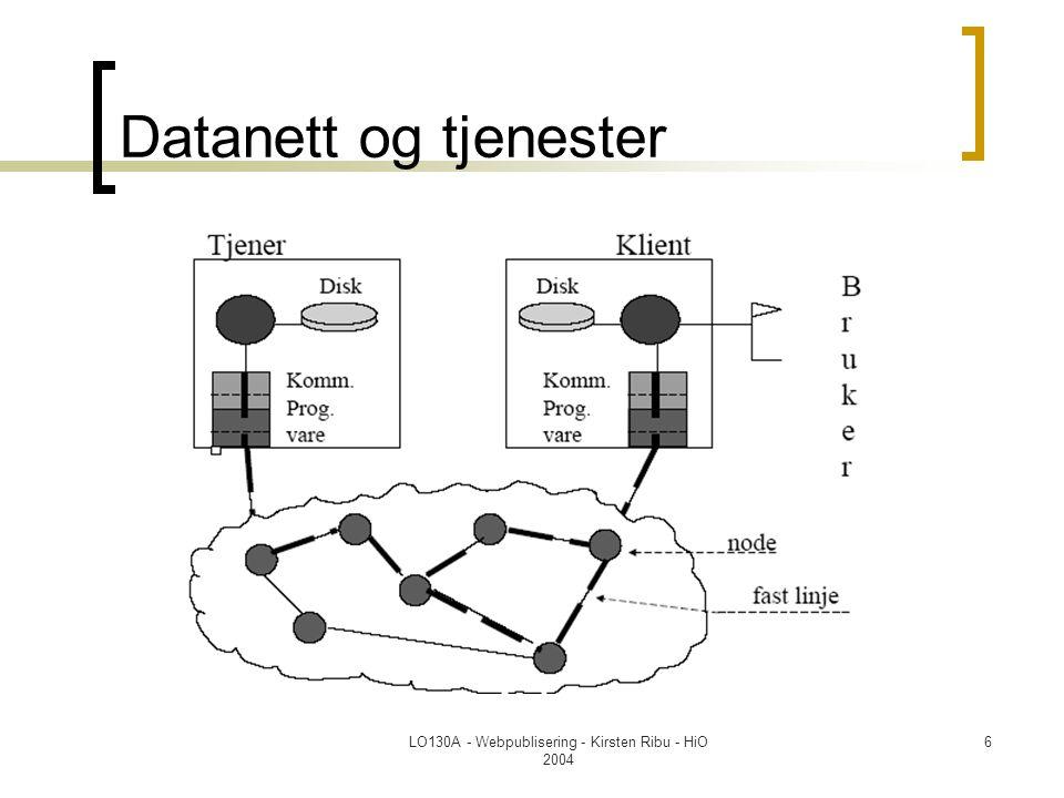 LO130A - Webpublisering - Kirsten Ribu - HiO 2004 7 Klient/tjener  Uttrykket klient-tjener er en generell beskrivelse av et nettverksbasert system der et klient-program oppretter kontakt med et atskilt tjenerprogram (som oftest på en annen maskin) for å få utført en bestemt funksjon.