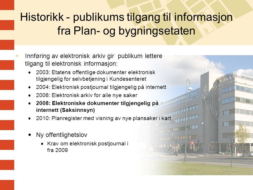 Historikk - publikums tilgang til informasjon fra Plan- og bygningsetaten  Innføring av elektronisk arkiv gir publikum lettere tilgang til elektronis