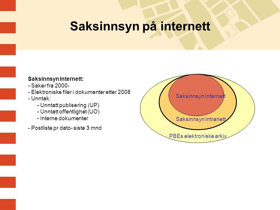 Saksinnsyn på internett Saksinnsyn Internett: - Saker fra 2000- - Elektroniske filer i dokumenter etter 2008 - Unntak: - Unntatt publisering (UP) - Un