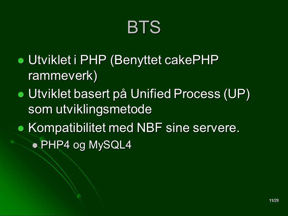 11/29 BTS  Utviklet i PHP (Benyttet cakePHP rammeverk)  Utviklet basert på Unified Process (UP) som utviklingsmetode  Kompatibilitet med NBF sine servere.