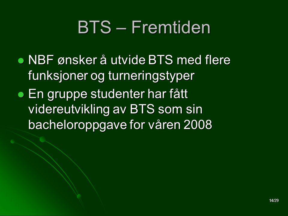 14/29 BTS – Fremtiden  NBF ønsker å utvide BTS med flere funksjoner og turneringstyper  En gruppe studenter har fått videreutvikling av BTS som sin bacheloroppgave for våren 2008