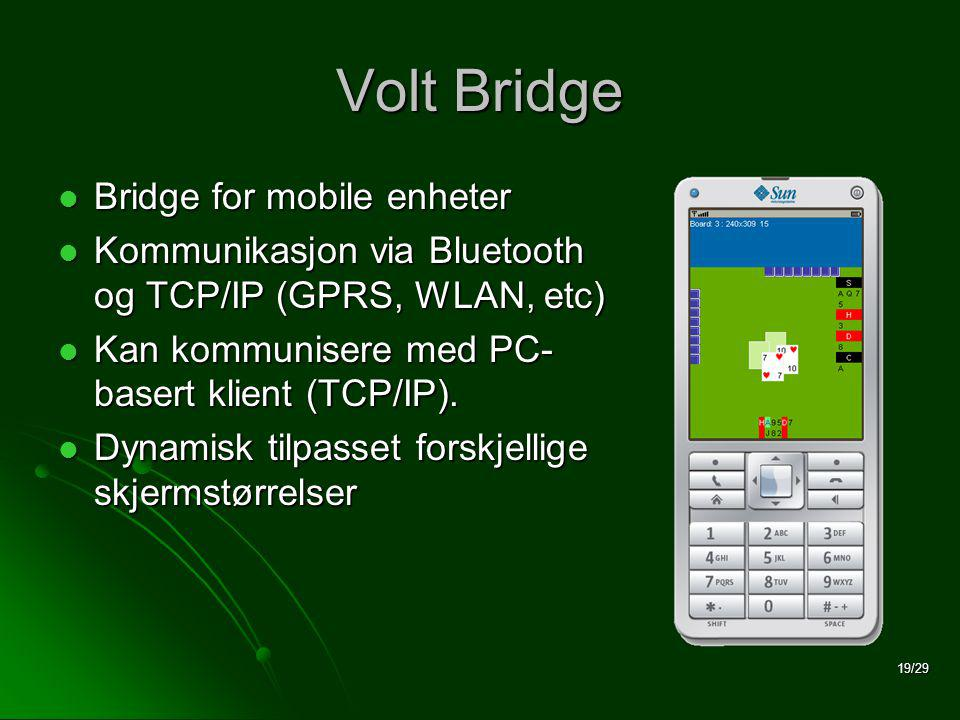 19/29 Volt Bridge  Bridge for mobile enheter  Kommunikasjon via Bluetooth og TCP/IP (GPRS, WLAN, etc)  Kan kommunisere med PC- basert klient (TCP/IP).