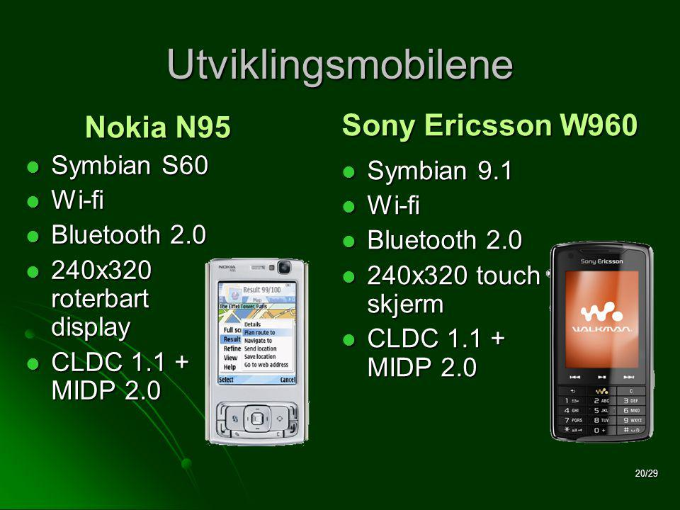 20/29 Utviklingsmobilene  Symbian S60  Wi-fi  Bluetooth 2.0  240x320 roterbart display  CLDC MIDP 2.0  Symbian 9.1  Wi-fi  Bluetooth 2.0  240x320 touch skjerm  CLDC MIDP 2.0 Sony Ericsson W960 Nokia N95