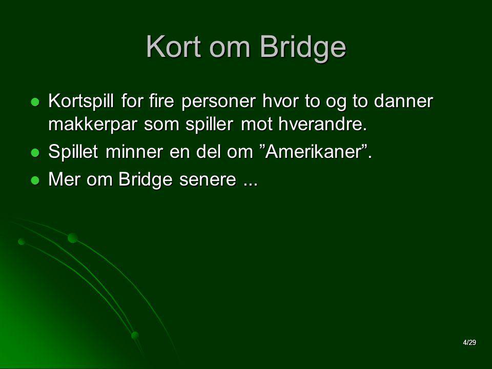 4/29 Kort om Bridge  Kortspill for fire personer hvor to og to danner makkerpar som spiller mot hverandre.