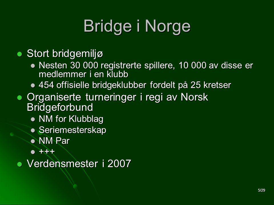 5/29 Bridge i Norge  Stort bridgemiljø  Nesten 30 000 registrerte spillere, 10 000 av disse er medlemmer i en klubb  454 offisielle bridgeklubber fordelt på 25 kretser  Organiserte turneringer i regi av Norsk Bridgeforbund  NM for Klubblag  Seriemesterskap  NM Par  +++  Verdensmester i 2007