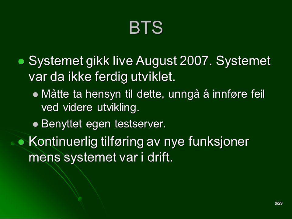 9/29 BTS  Systemet gikk live August 2007. Systemet var da ikke ferdig utviklet.