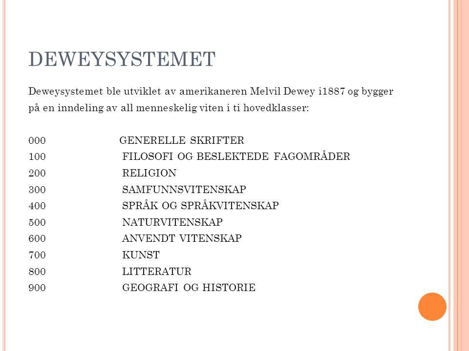 DEWEYSYSTEMET Deweysystemet ble utviklet av amerikaneren Melvil Dewey i1887 og bygger på en inndeling av all menneskelig viten i ti hovedklasser: 000 GENERELLE SKRIFTER 100FILOSOFI OG BESLEKTEDE FAGOMRÅDER 200RELIGION 300SAMFUNNSVITENSKAP 400SPRÅK OG SPRÅKVITENSKAP 500NATURVITENSKAP 600ANVENDT VITENSKAP 700KUNST 800LITTERATUR 900GEOGRAFI OG HISTORIE