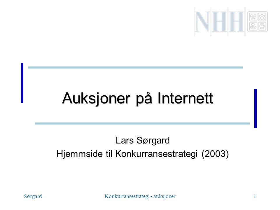 SørgardKonkurransestrategi - auksjoner1 Auksjoner på Internett Lars Sørgard Hjemmside til Konkurransestrategi (2003)