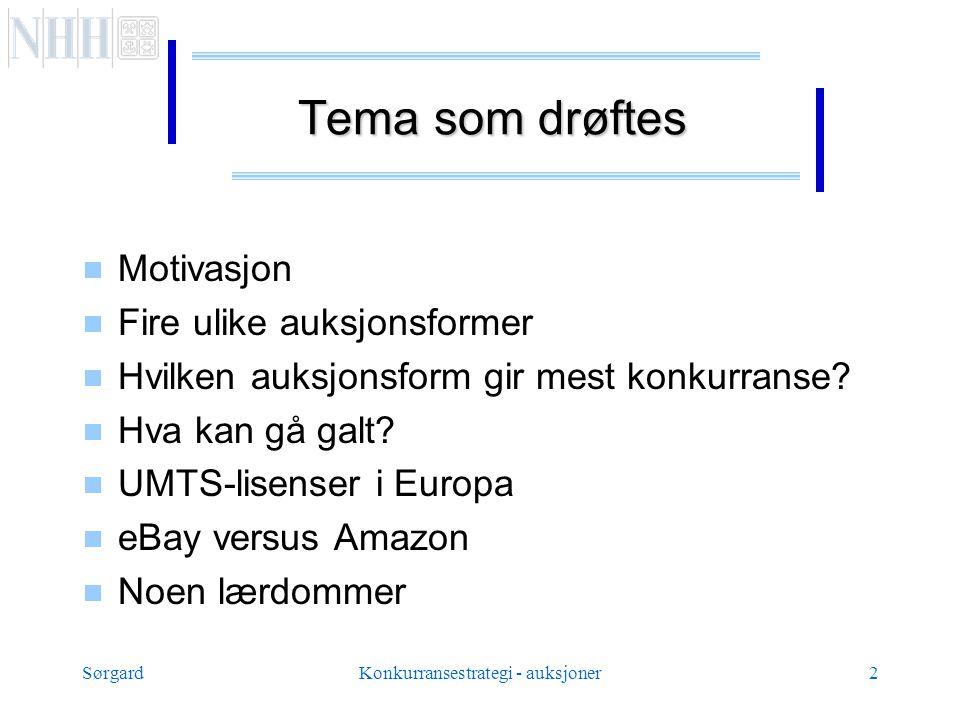 SørgardKonkurransestrategi - auksjoner2 Tema som drøftes  Motivasjon  Fire ulike auksjonsformer  Hvilken auksjonsform gir mest konkurranse.