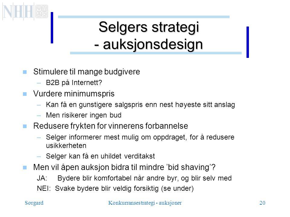 SørgardKonkurransestrategi - auksjoner20 Selgers strategi - auksjonsdesign  Stimulere til mange budgivere –B2B på Internett.