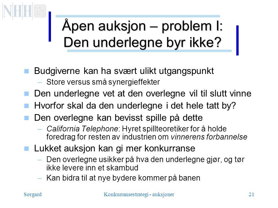 SørgardKonkurransestrategi - auksjoner21 Åpen auksjon – problem I: Den underlegne byr ikke.