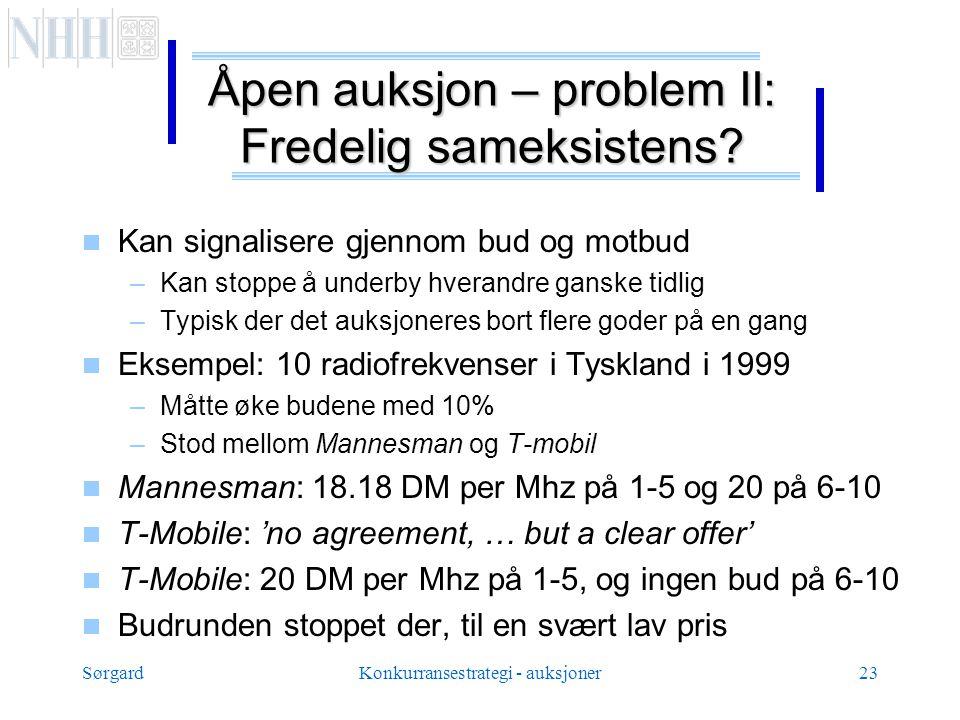 SørgardKonkurransestrategi - auksjoner23 Åpen auksjon – problem II: Fredelig sameksistens.