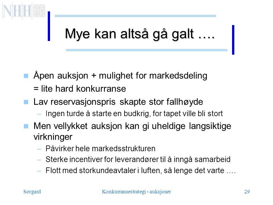 SørgardKonkurransestrategi - auksjoner29 Mye kan altså gå galt ….