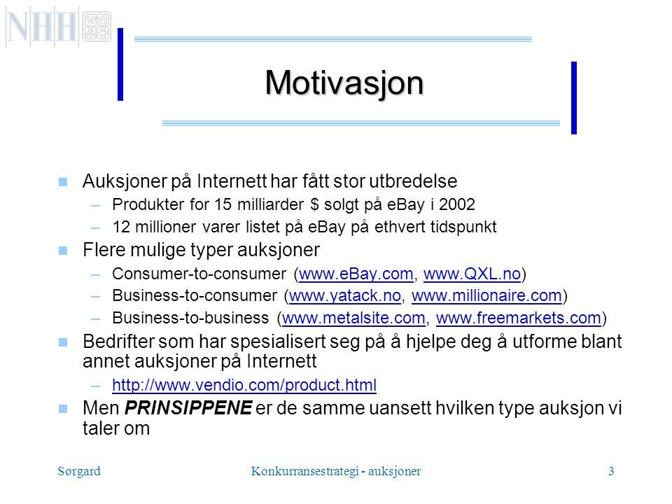 SørgardKonkurransestrategi - auksjoner3 Motivasjon  Auksjoner på Internett har fått stor utbredelse –Produkter for 15 milliarder $ solgt på eBay i 2002 –12 millioner varer listet på eBay på ethvert tidspunkt  Flere mulige typer auksjoner –Consumer-to-consumer (www.eBay.com, www.QXL.no)www.eBay.comwww.QXL.no –Business-to-consumer (www.yatack.no, www.millionaire.com)www.yatack.nowww.millionaire.com –Business-to-business (www.metalsite.com, www.freemarkets.com)www.metalsite.comwww.freemarkets.com  Bedrifter som har spesialisert seg på å hjelpe deg å utforme blant annet auksjoner på Internett –http://www.vendio.com/product.htmlhttp://www.vendio.com/product.html  Men PRINSIPPENE er de samme uansett hvilken type auksjon vi taler om