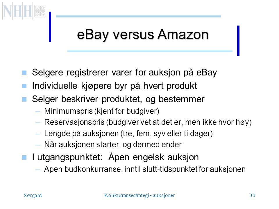SørgardKonkurransestrategi - auksjoner30 eBay versus Amazon  Selgere registrerer varer for auksjon på eBay  Individuelle kjøpere byr på hvert produkt  Selger beskriver produktet, og bestemmer –Minimumspris (kjent for budgiver) –Reservasjonspris (budgiver vet at det er, men ikke hvor høy) –Lengde på auksjonen (tre, fem, syv eller ti dager) –Når auksjonen starter, og dermed ender  I utgangspunktet: Åpen engelsk auksjon –Åpen budkonkurranse, inntil slutt-tidspunktet for auksjonen