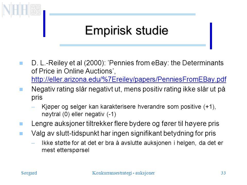 SørgardKonkurransestrategi - auksjoner33 Empirisk studie  D.