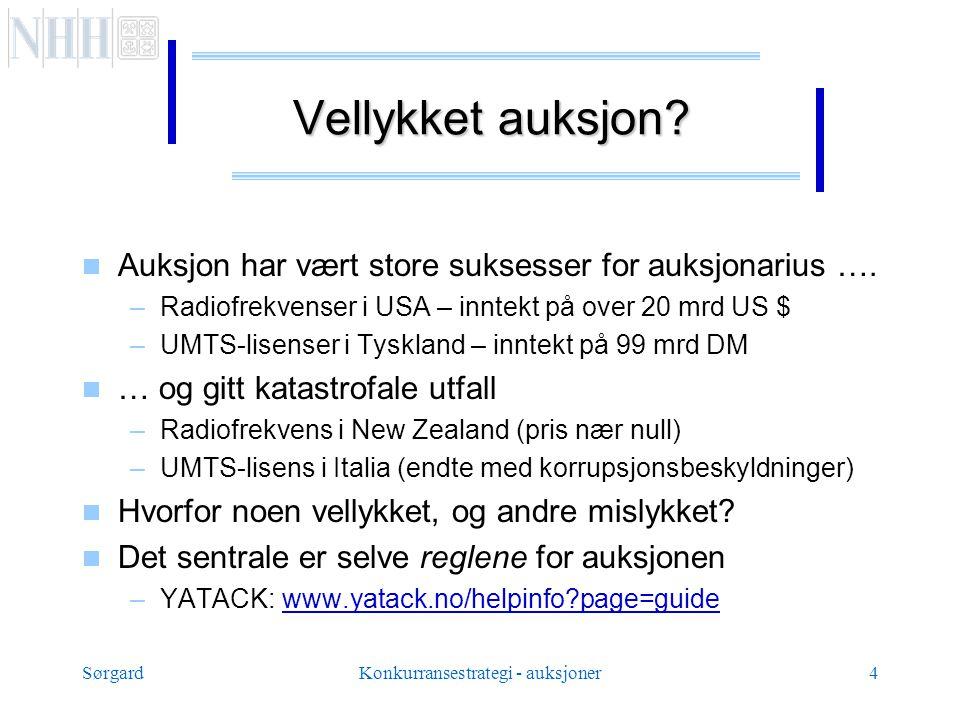 SørgardKonkurransestrategi - auksjoner4 Vellykket auksjon.