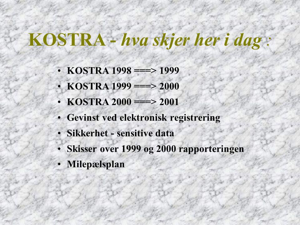 •1 ==> 5 fylkeskommuner •25 ==> 108 kommuner •4 ==> 31 Elektroniske skjemaer konverteres til EDIFACT (RDRMES) •1 ==> 3 EDI-Leverandører •1 ==> 2 Tekniske løsninger (lokal og FMS) •KOSTRA - 1998==>1999