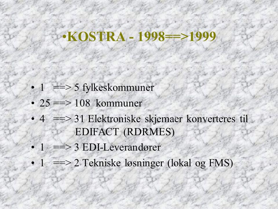 •1 ==> 5 fylkeskommuner •25 ==> 108 kommuner •4 ==> 31 Elektroniske skjemaer konverteres til EDIFACT (RDRMES) •1 ==> 3 EDI-Leverandører •1 ==> 2 Tekni