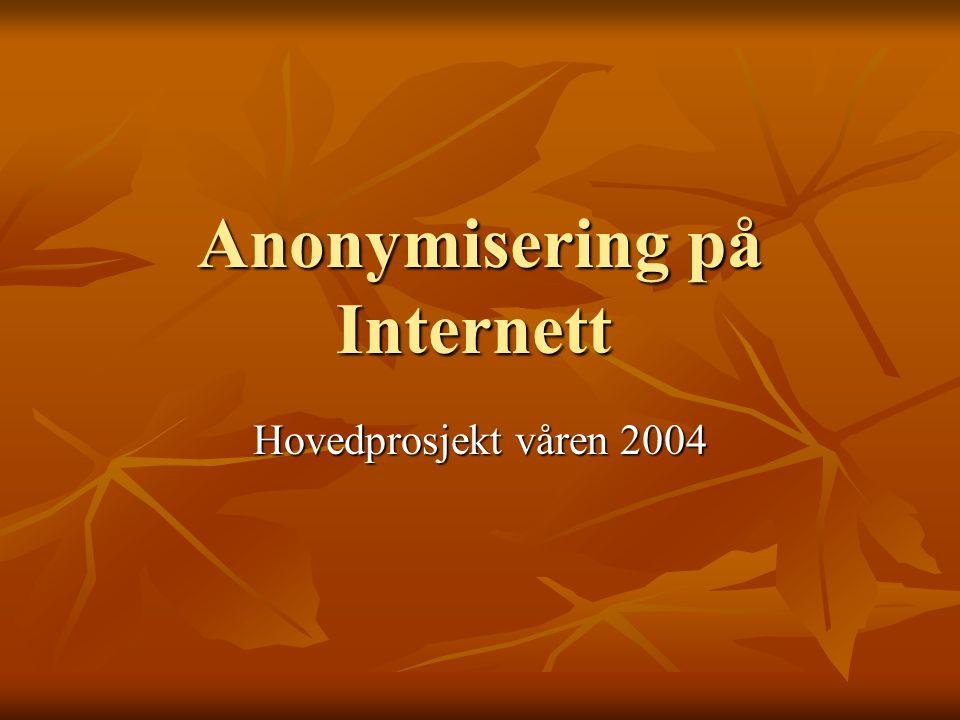 Anonymisering på Internett Hovedprosjekt våren 2004