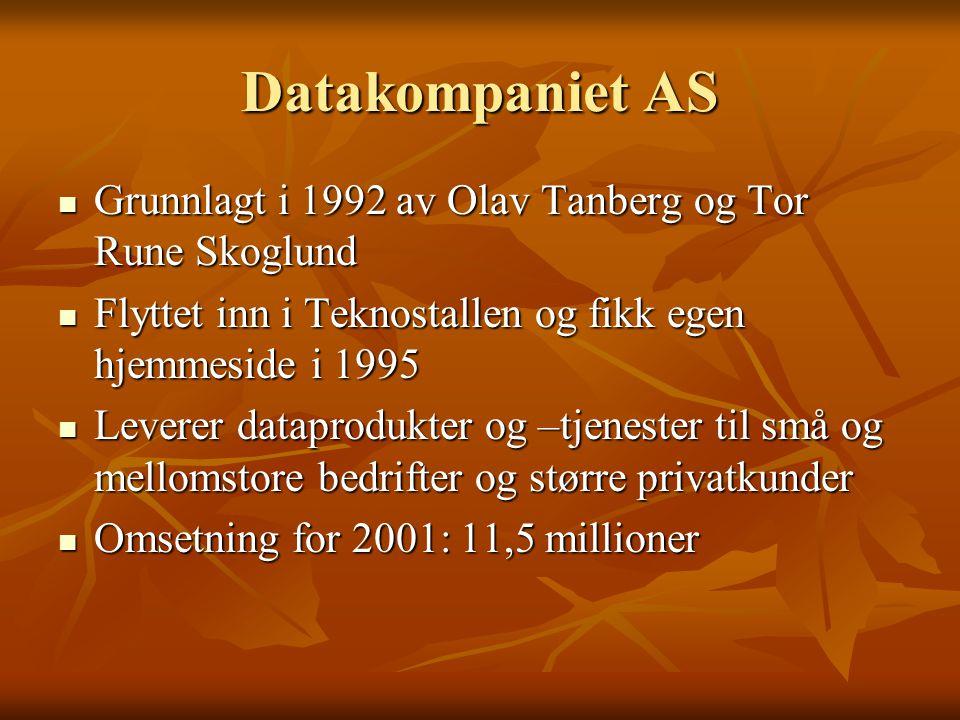 Datakompaniet AS  Grunnlagt i 1992 av Olav Tanberg og Tor Rune Skoglund  Flyttet inn i Teknostallen og fikk egen hjemmeside i 1995  Leverer datapro