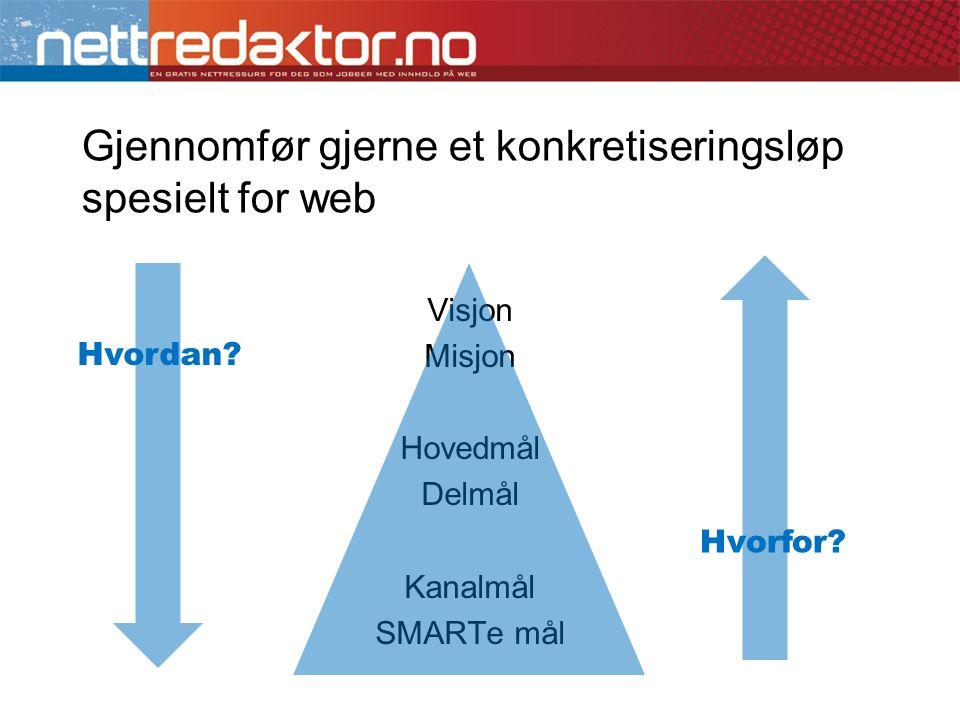 Gjennomfør gjerne et konkretiseringsløp spesielt for web Visjon Misjon Hovedmål Delmål Kanalmål SMARTe mål Hvordan? Hvorfor?