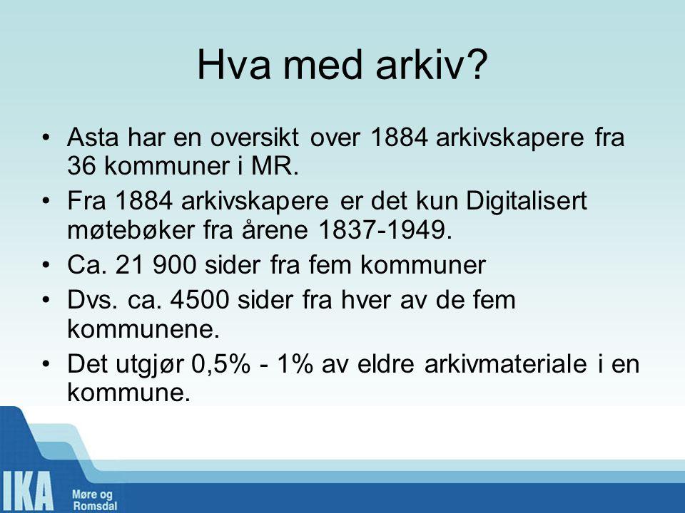 Hva med arkiv.•Asta har en oversikt over 1884 arkivskapere fra 36 kommuner i MR.