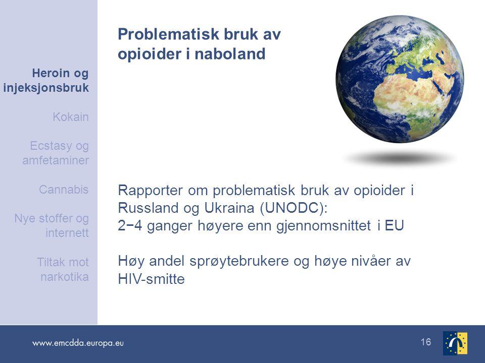 16 Rapporter om problematisk bruk av opioider i Russland og Ukraina (UNODC): 2−4 ganger høyere enn gjennomsnittet i EU Høy andel sprøytebrukere og høy