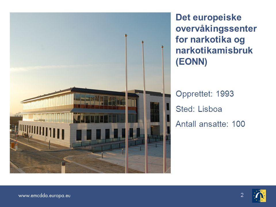 2 Det europeiske overvåkingssenter for narkotika og narkotikamisbruk (EONN) Opprettet: 1993 Sted: Lisboa Antall ansatte: 100