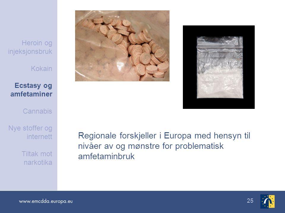 25 Regionale forskjeller i Europa med hensyn til nivåer av og mønstre for problematisk amfetaminbruk Heroin og injeksjonsbruk Kokain Ecstasy og amfeta