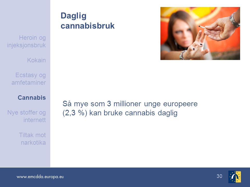 30 Daglig cannabisbruk Så mye som 3 millioner unge europeere (2,3 %) kan bruke cannabis daglig Heroin og injeksjonsbruk Kokain Ecstasy og amfetaminer