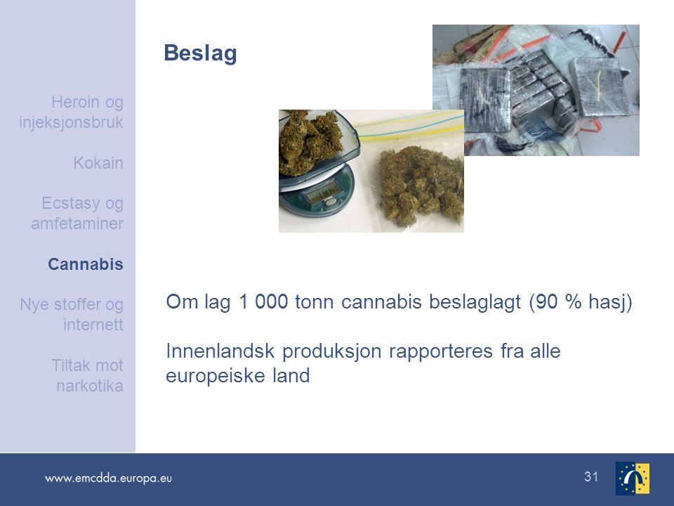 31 Beslag Om lag 1 000 tonn cannabis beslaglagt (90 % hasj) Innenlandsk produksjon rapporteres fra alle europeiske land Heroin og injeksjonsbruk Kokai
