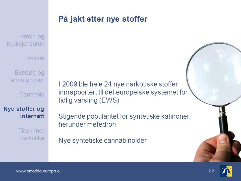 32 På jakt etter nye stoffer I 2009 ble hele 24 nye narkotiske stoffer innrapportert til det europeiske systemet for tidlig varsling (EWS) Stigende po
