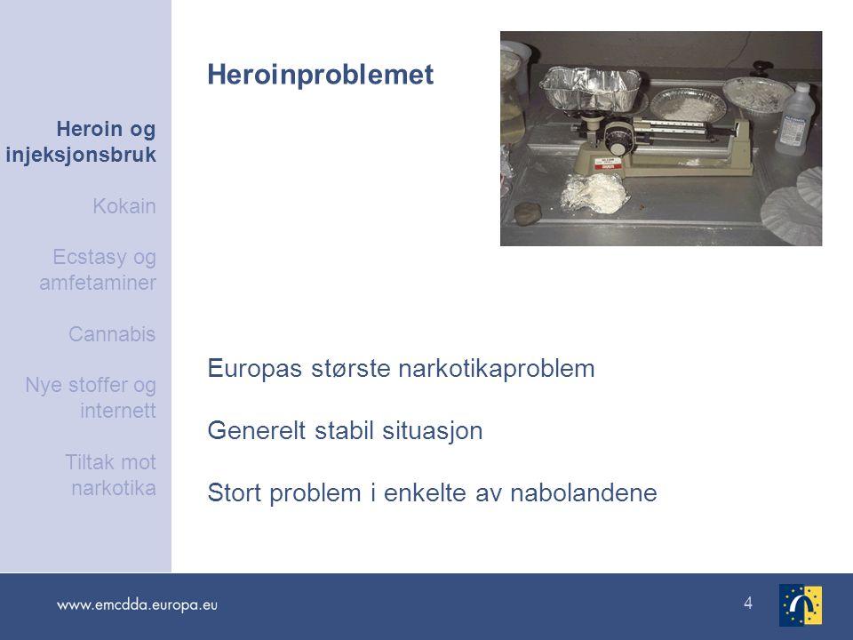4 Europas største narkotikaproblem Generelt stabil situasjon Stort problem i enkelte av nabolandene Heroinproblemet Heroin og injeksjonsbruk Kokain Ec