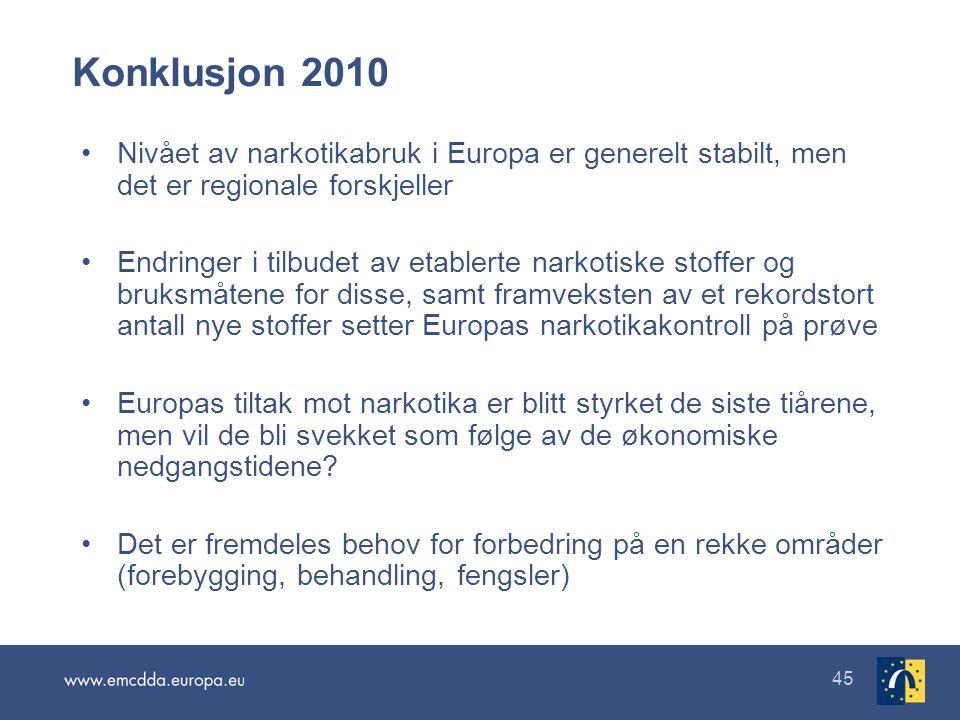 45 Konklusjon 2010 •Nivået av narkotikabruk i Europa er generelt stabilt, men det er regionale forskjeller •Endringer i tilbudet av etablerte narkotis