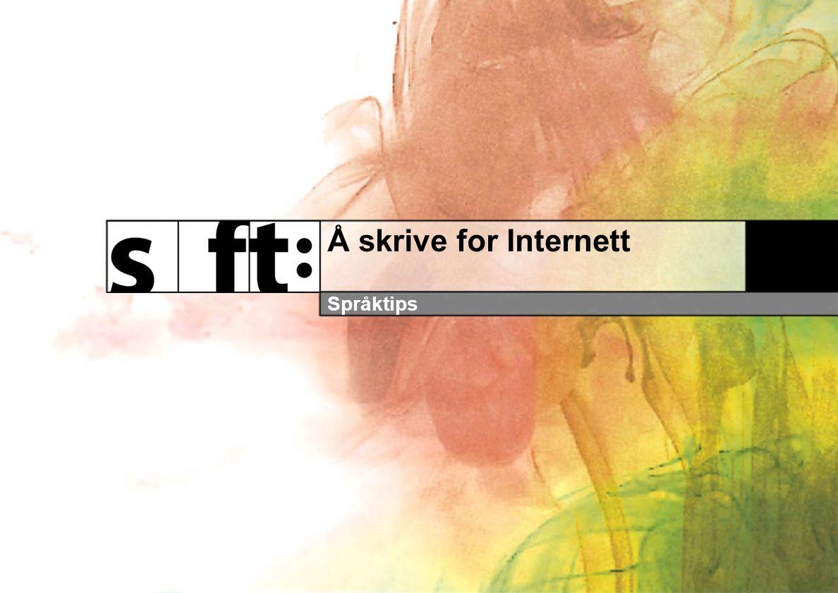 Å skrive for Internett Språktips