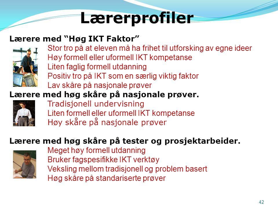 """Lærere med """"Høg IKT Faktor"""" Stor tro på at eleven må ha frihet til utforsking av egne ideer Høy formell eller uformell IKT kompetanse Liten faglig for"""
