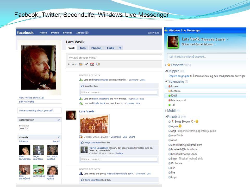Facbook, Twitter, SecondLife, Windows Live Messenger