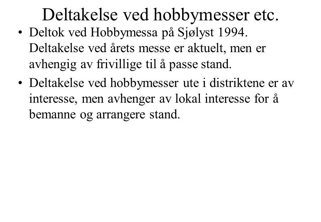 Deltakelse ved hobbymesser etc. •Deltok ved Hobbymessa på Sjølyst 1994. Deltakelse ved årets messe er aktuelt, men er avhengig av frivillige til å pas