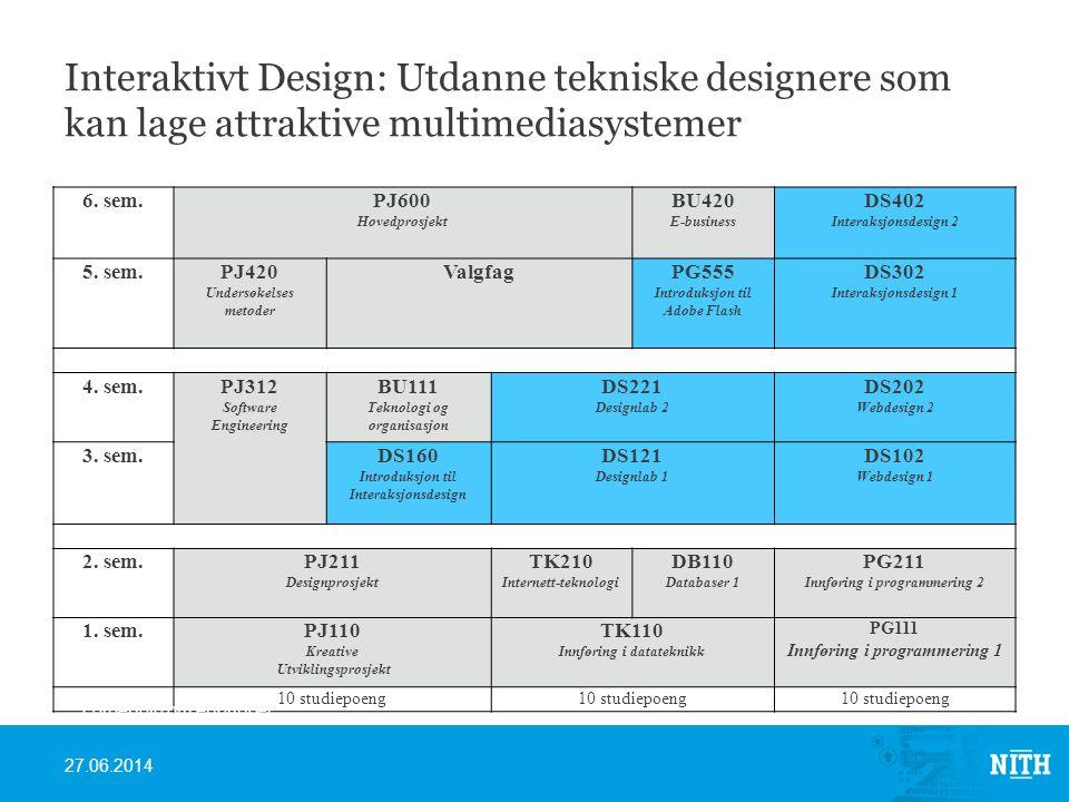 Interaktivt Design: Utdanne tekniske designere som kan lage attraktive multimediasystemer 6.